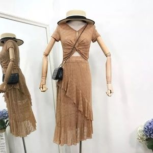 Dresses & Skirts - v neck vintage inspired flapper  2 pcs full dress